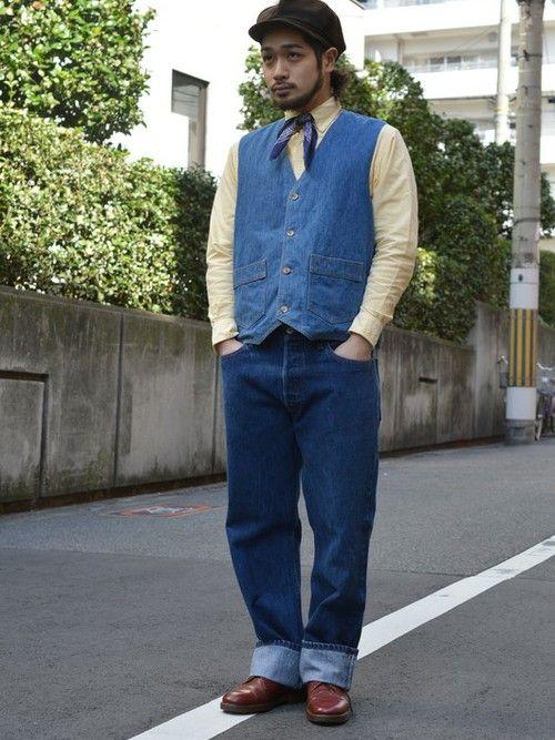 Levi'sのベスト「70年代 リーバイス Panatela デニムベスト メンズM ヴィンテージ Levi's /wef3928」を使った古着屋JAMのコーディネートです。WEARはモデル・俳優・ショップスタッフなどの着こなしをチェックできるファッションコーディネートサイトです。