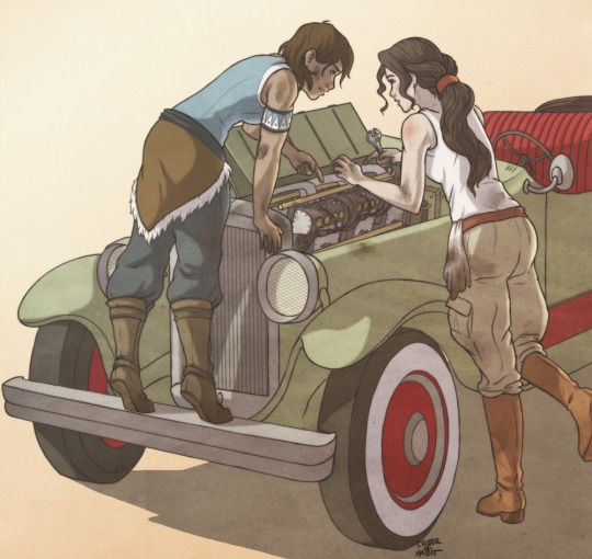 Asami teaching Korra some basic mechanic skills! by critter-of-habit