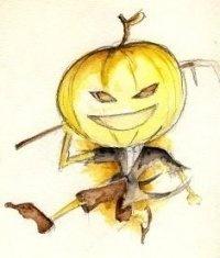 It's Jack o Lantern! Watercolor on paper.