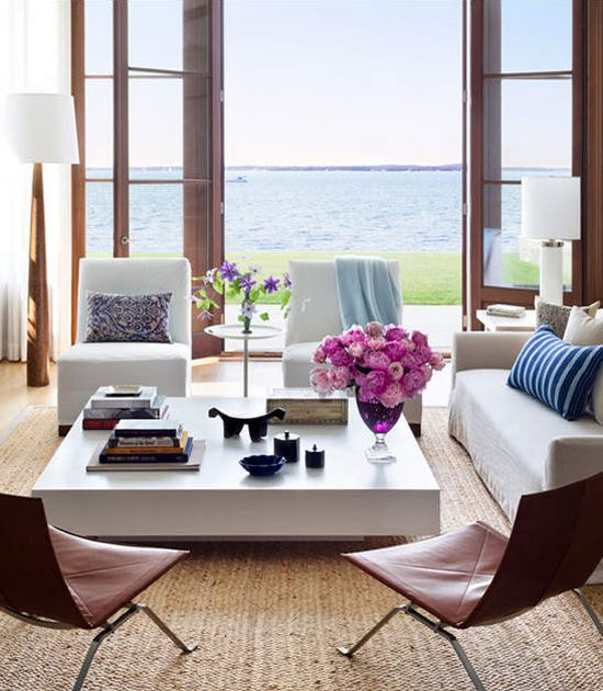 Living room with a view of the sea.