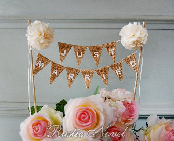Wedding Cake Topper, Rustic Burlap Cake Bunting, Cream Cake Topper, JUST MARRIED