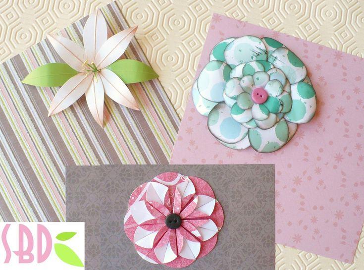 Tutorial: 3 Fiori di carta fai da te per Scrapbooking - Three paper flowers