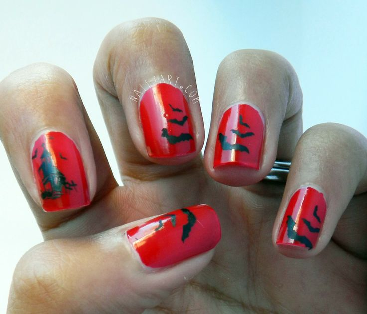 Barry M Blood Orange Halloween Bat Nail Art by nailtart.com - 39 Best Halloween Bat Nail Art Images On Pinterest Halloween Nail