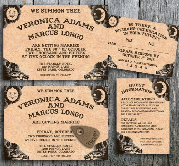 Ouija Invitation Suite For A Halloween Wedding   Printable Wedding  Invitation, RSVP And Guest Information Card