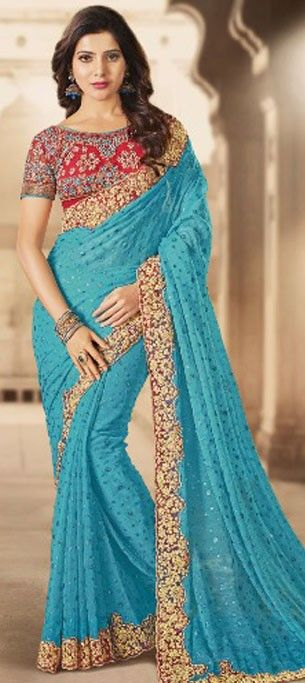 185489 Blue  color family Bollywood sarees in Faux Chiffon fabric with Lace, Machine Embroidery, Stone, Zari work .