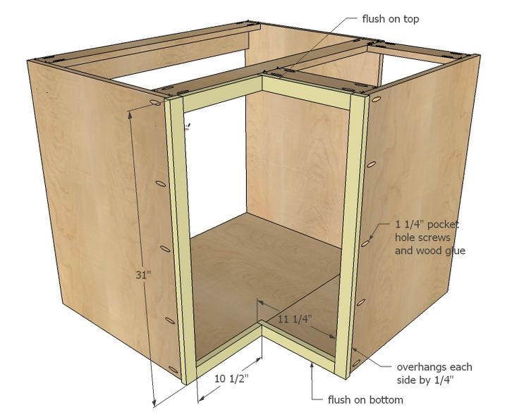 Ana white build a 36 corner base easy reach kitchen for Building kitchen cabinets