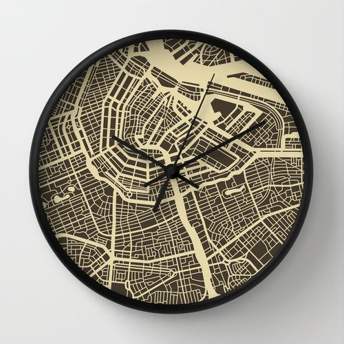 Amsterdam Map Wall Clock