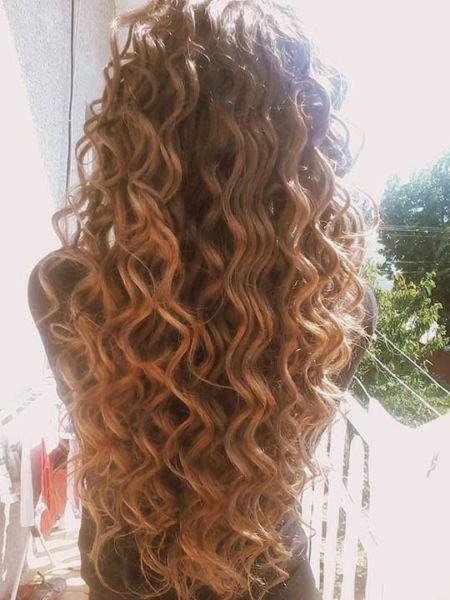down and curled hair waves.