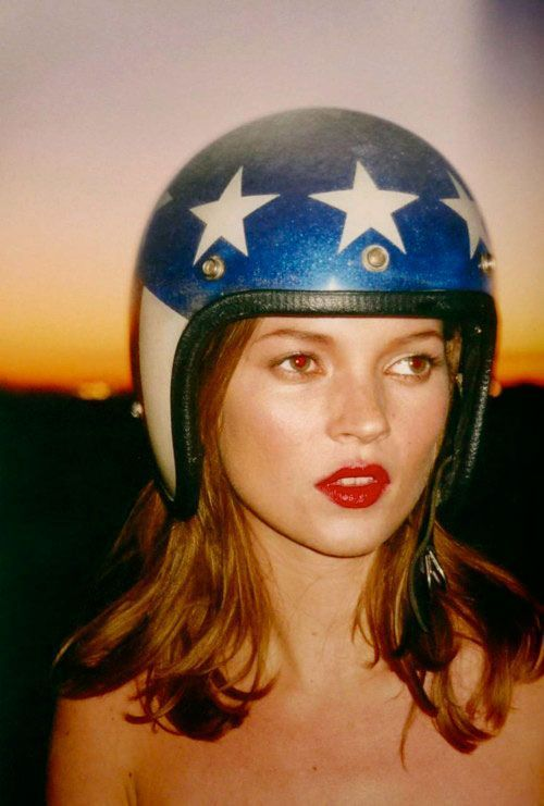 Kate Moss by Terry Richardson, Wearing an American Flag Helmet @Coveteur