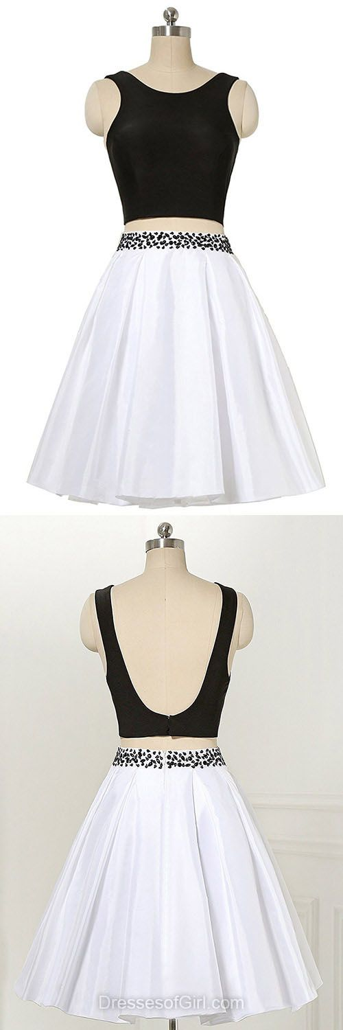 Two Piece Homecoming Dresses, White and Black Prom Dresses, Backless Party Dresses, Simple Cocktail Dress, Casual Short Summer Dresses