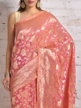 Brink Pink Banarasi Silk Saree
