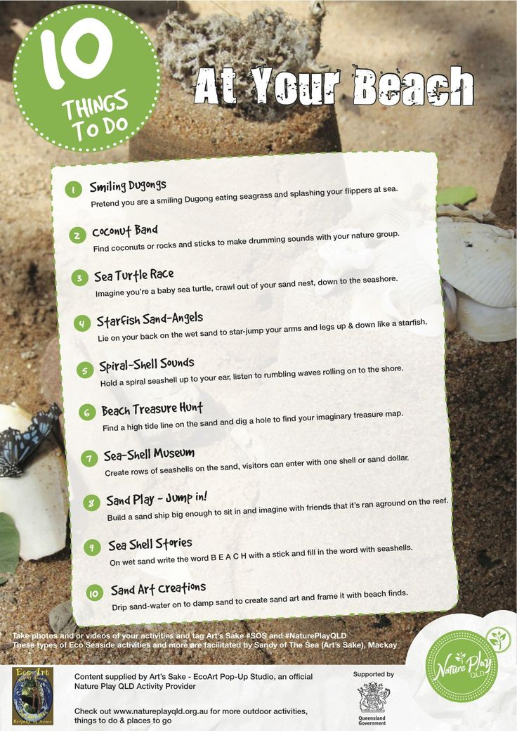 10 Things To Do At Your Beach.  Nature Play QLD's Nature Playlist.