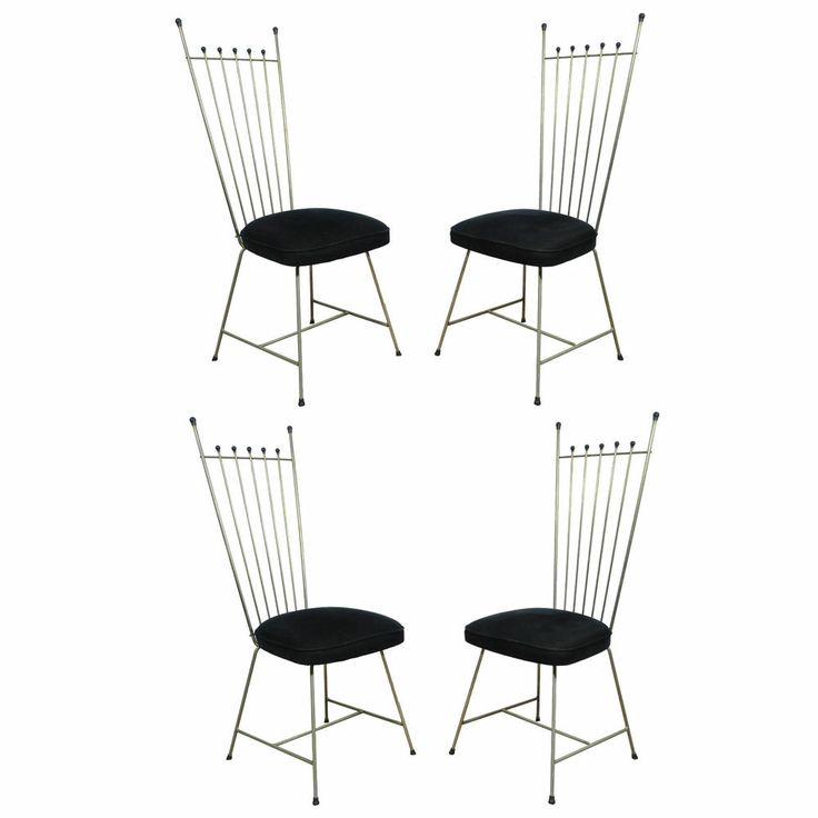 4 vtg mid century modern metal dining chairs frederic weinberg salterini style chair. Black Bedroom Furniture Sets. Home Design Ideas