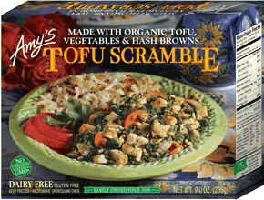 Tofu Scramble-- organic tofu and ingredients. vegan & gf.  320 calories, 19g fat, 19 g carbs (4g sugar, 4g fiber), 22g protien. 30% iron.  Very delish (espec. those hash browns & with some organic ketchup) & filling