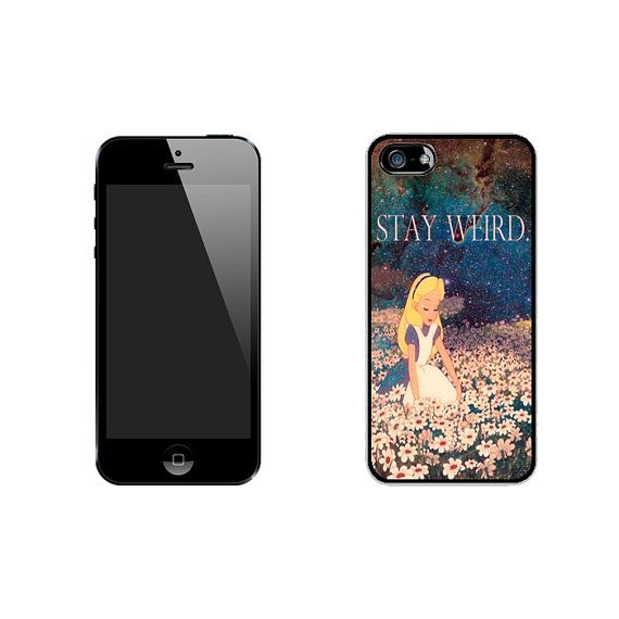 Stay Weird Alice in Wonderland Nebula iPhone 4/4s 5/5s 5c* Black Rubber Case