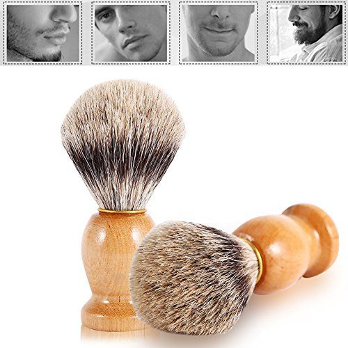 Multi-type Shaving Brushes Set & Shaving Brushes Razor Shaving Stand Holder Shaving Grooming Bowl Mug Set Shaving Razor Bag for Home Travel Use (#3 Brush)