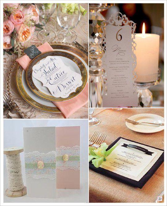 menu mariage baroque decoupe carte dentelle papier banderole en relief medaillon bijou