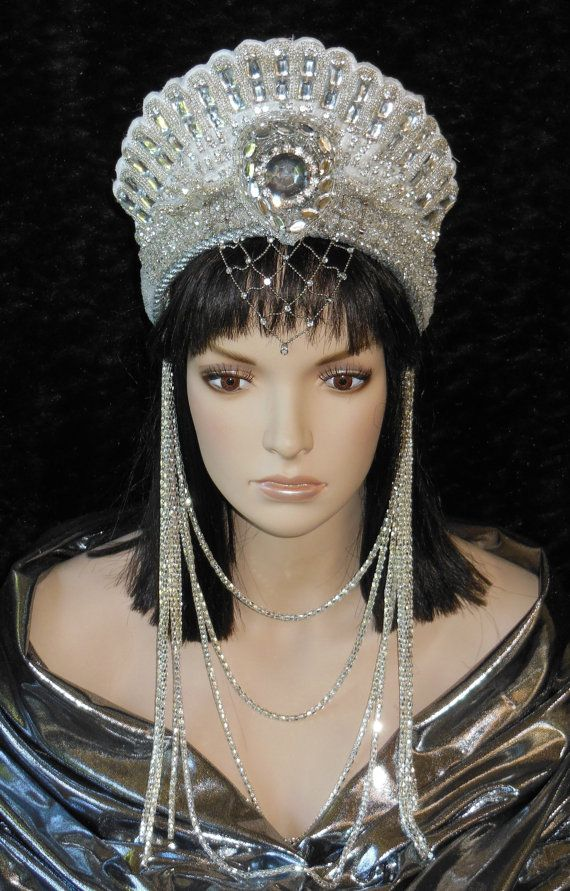 Fantasy White & Silver Rhinestone Beaded Snow by MIMSYCROWNS, $185.00