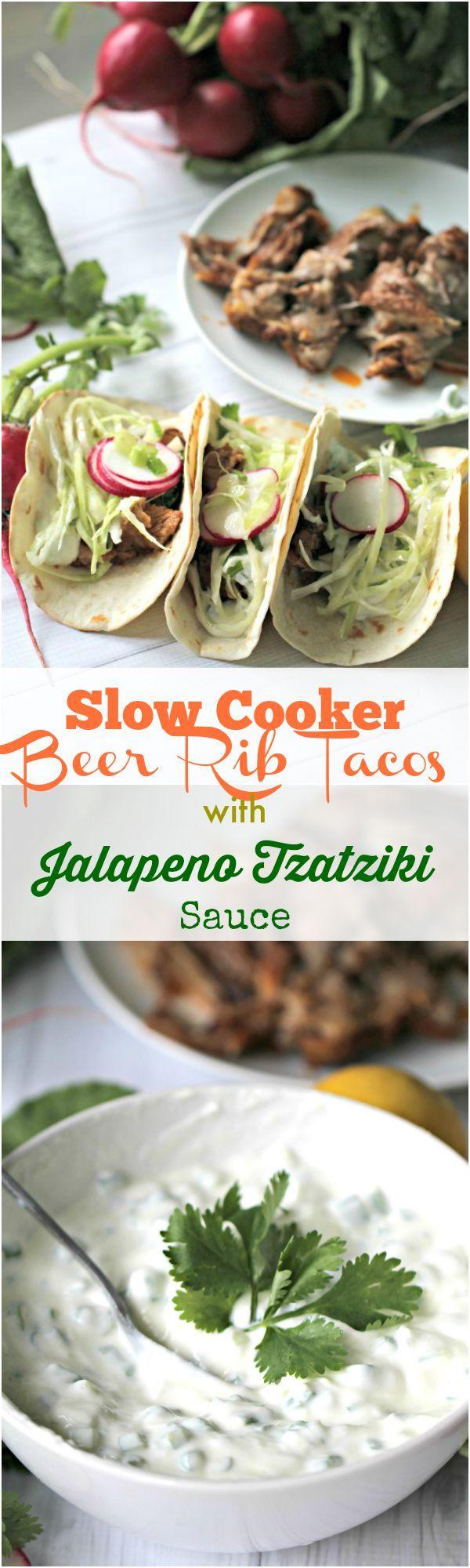 Slow Cooker Beer Ribs Tacos with Jalapeño Tzatziki Sauce - Peas and Peonies