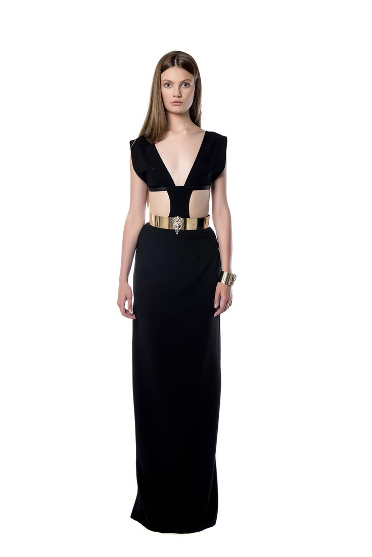 Floor – skimming dress with side cutouts and plunging neckline  A black floor – skimming dress with side cutouts and plunging neckline. The piece is crafted from fluid black crepe. Style yours with statement heels.