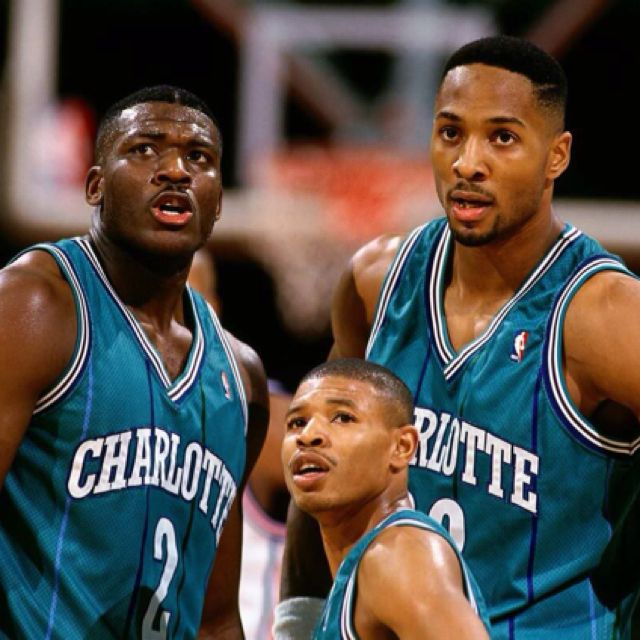 "Charlotte Hornets!!! Larry Johnson, ""Muggsy"" Bogues, and Alonzo Mourning. Best NBA team evar!!"