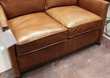"""49"""" L Bello de dos plazas sofá marrón claro con aspecto envejecido grano superior suave Cuero Lindo"""