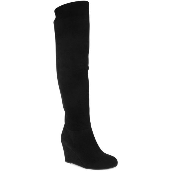 Chinese Laundry Unbelievable Over the Knee Wedge Boots ($55) ❤ liked on Polyvore featuring shoes, boots, black, over-the-knee boots, black thigh-high boots, over the knee boots, black boots, black wedge boots and suede wedge boots