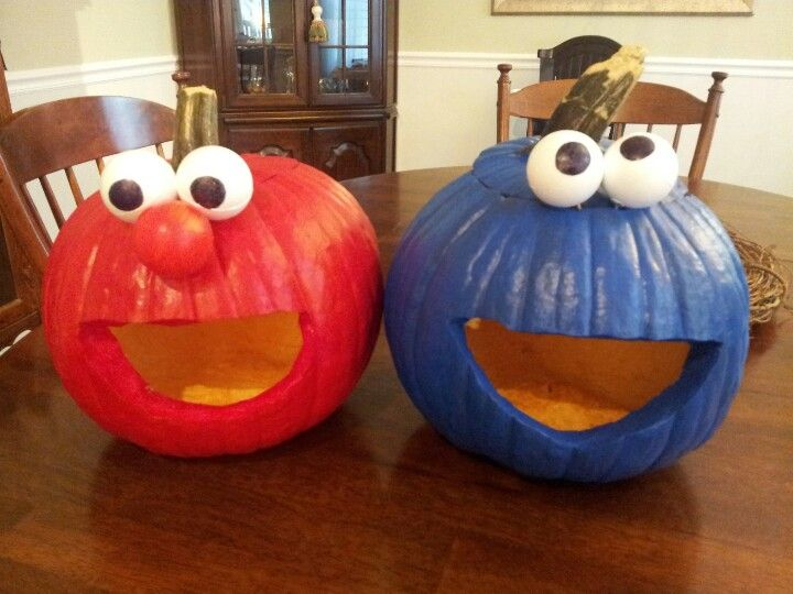 elmo cookie monster pumpkins
