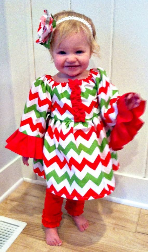 Christmas Chevron Peasant Dress Baby Girl Christmas Dress Holiday