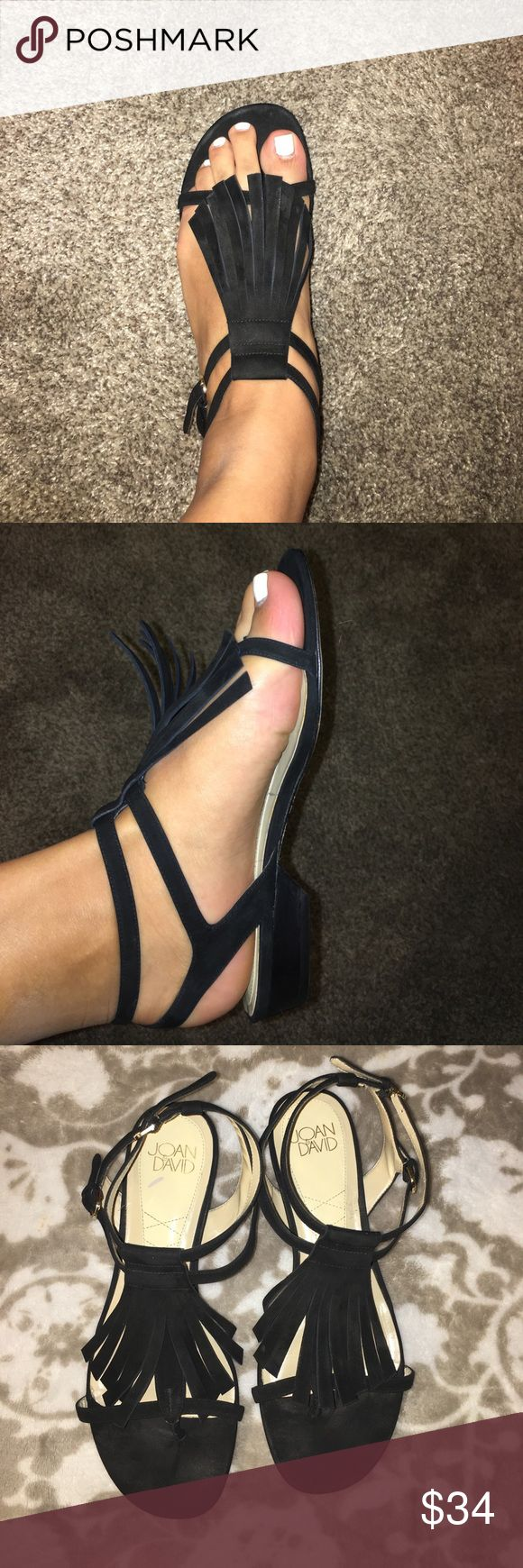 Joan & David suede fringe boho sandals Good condition, fringe suede sandals. Comfy perfect for this summer! Joan & David Shoes Sandals