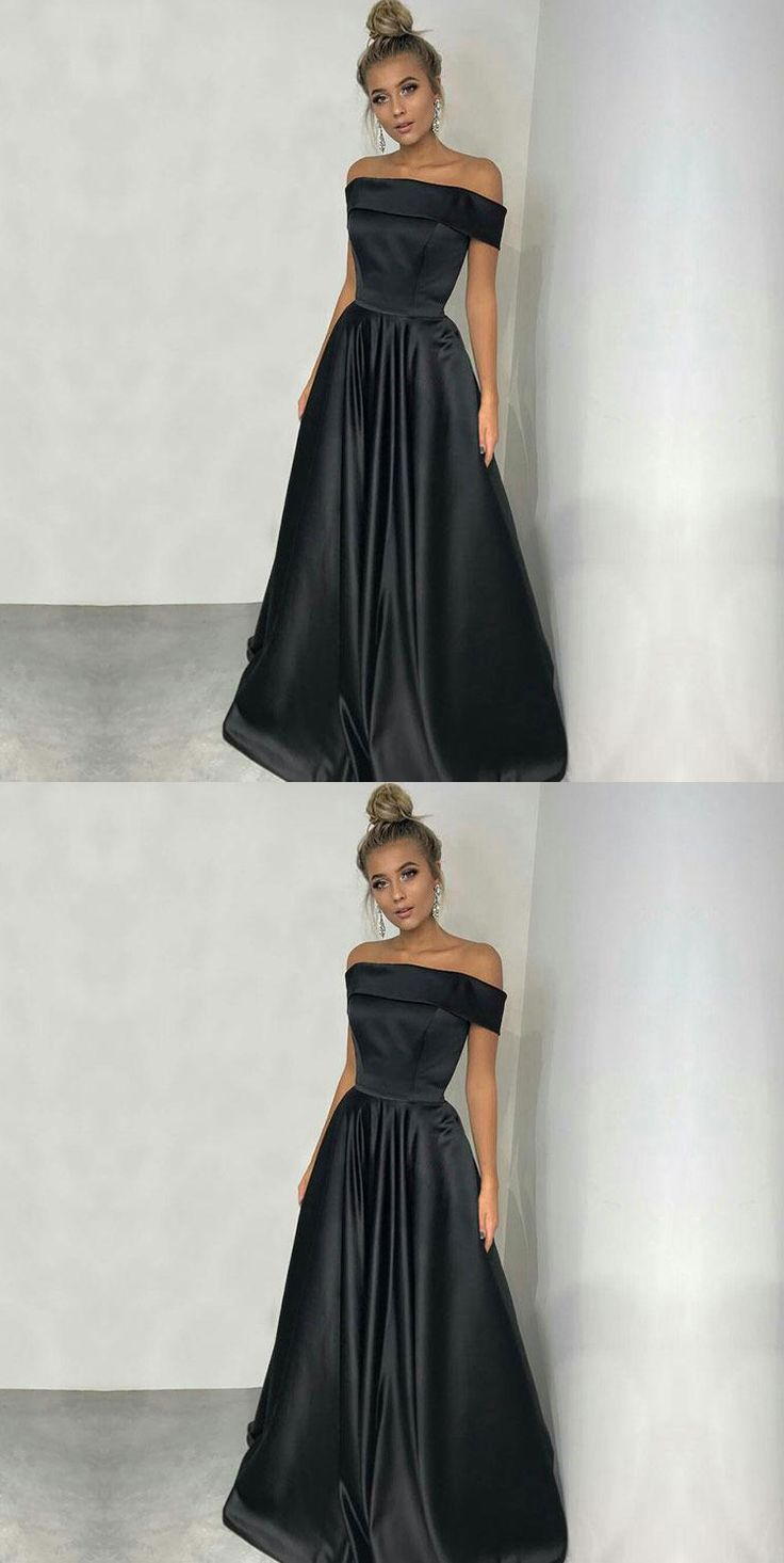 Simple Off Shoulder Long Black Satin Prom Dresses#Promdressesonline#promdresses2018#simplepromdress#blackpromdresses#offshoulderpromdresses#eveningdresses#formaldresses2018