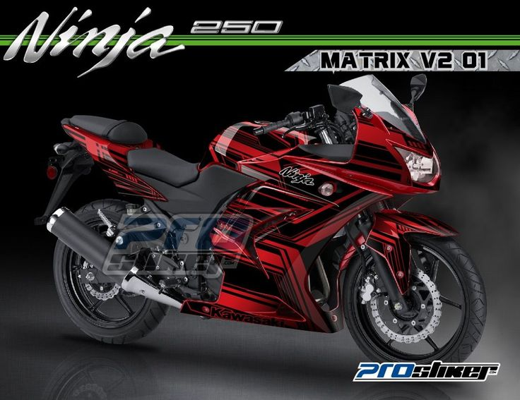 Modifikasi Ninja 250 Karbu Warna Merah Striping Modif MATRIX V2 01 Merah Prostiker