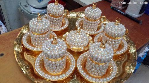 İncili osmanlı kahve takımı