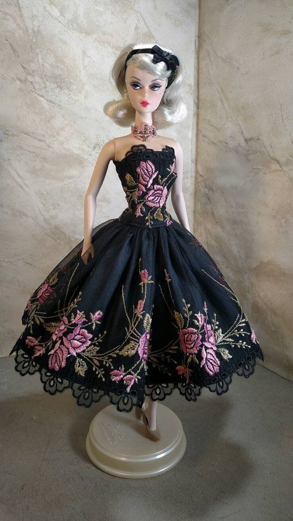 """Fuschia Foliage"" fits Silkstone Barbie (shown) by GinOCouture (US) 