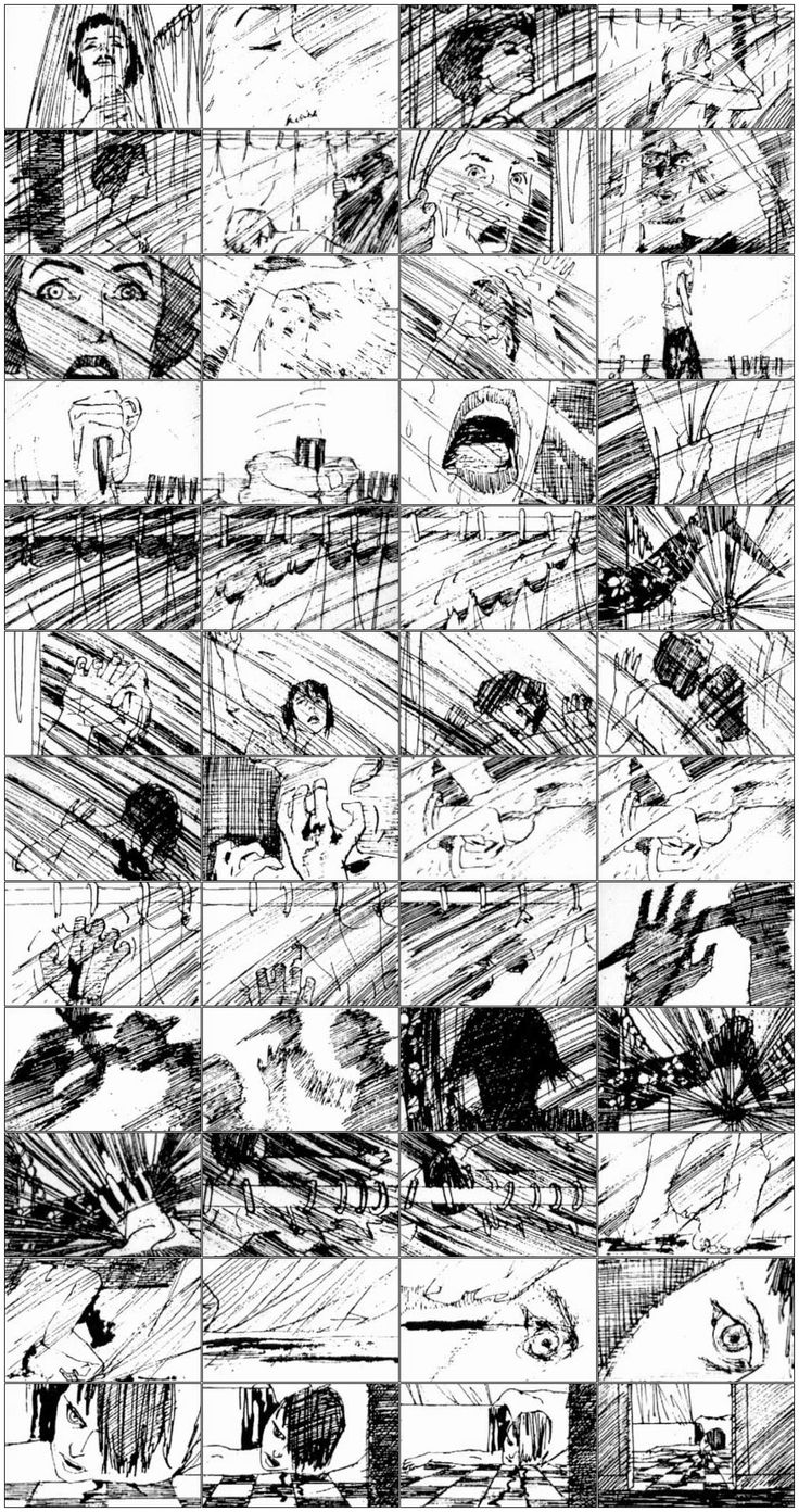 "Saul Bass - ""Psycho"" shower scene storyboard."