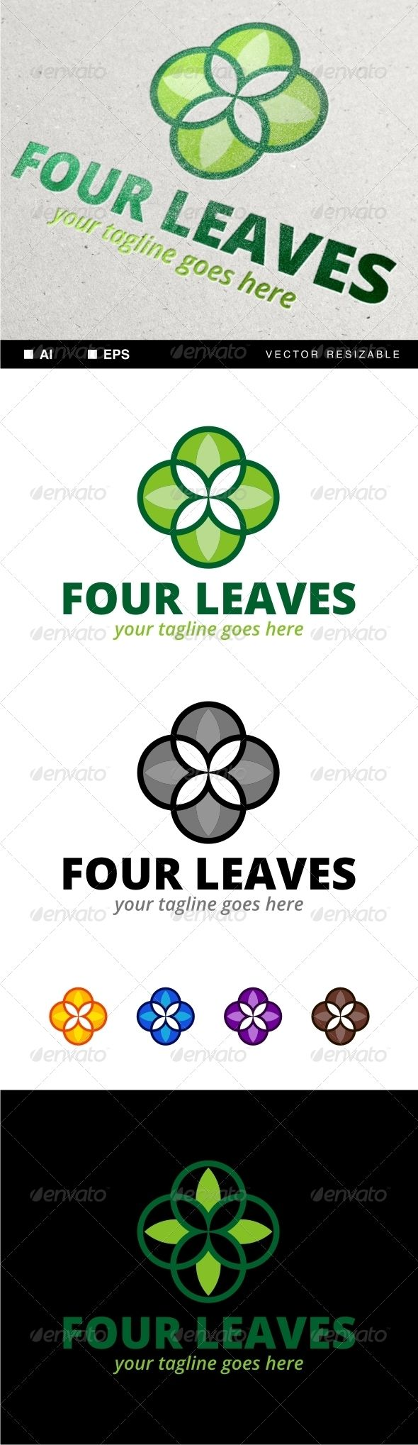 Four Leaves Logo — Vector EPS #leaf #flower • Available here → https://graphicriver.net/item/four-leaves-logo/7081765?ref=pxcr