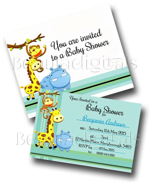 Baby Shower Invitation Card and Envelope.  Printable Download Template
