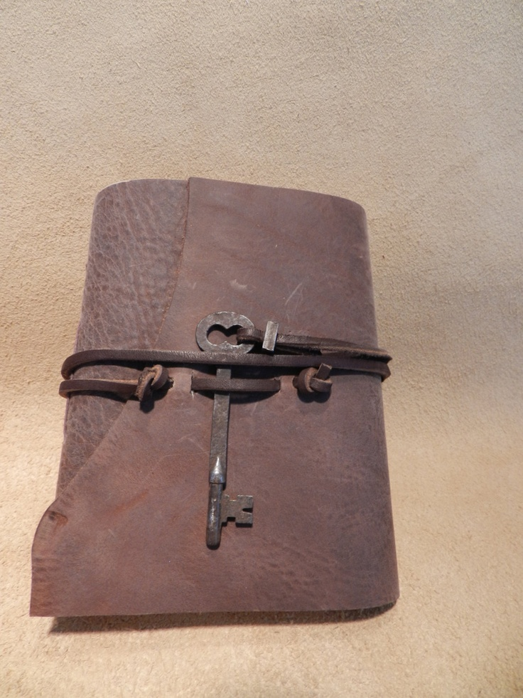 """Rugged Leather Journal Skeleton Key Travel Diary Garden Journal Handstitched Book 5 1/2"""" x 6 1/2"""". $40.00, via Etsy."""