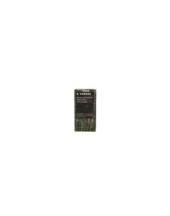 KORRES MOUNTAIN PEPPER, BERGAMOT, CORIANDER EAU DE TOILETTE 50ML Ένα κλασικό άρωμα για τους άνδρες με νότες από αρωματικά ξύλα Με βάση το κεχριμπάρι και τα αρωματικά ξύλα και αρωματικά μείγματα από πιπέρι δεντρολίβανο κορίανδρος λεβάντα πορτοκάλι και περγαμόντο