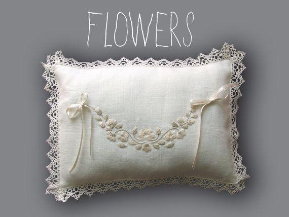 Italian Wedding Ring Pillow Linen Hand by PenelopeHandmade on Etsy, £60.00