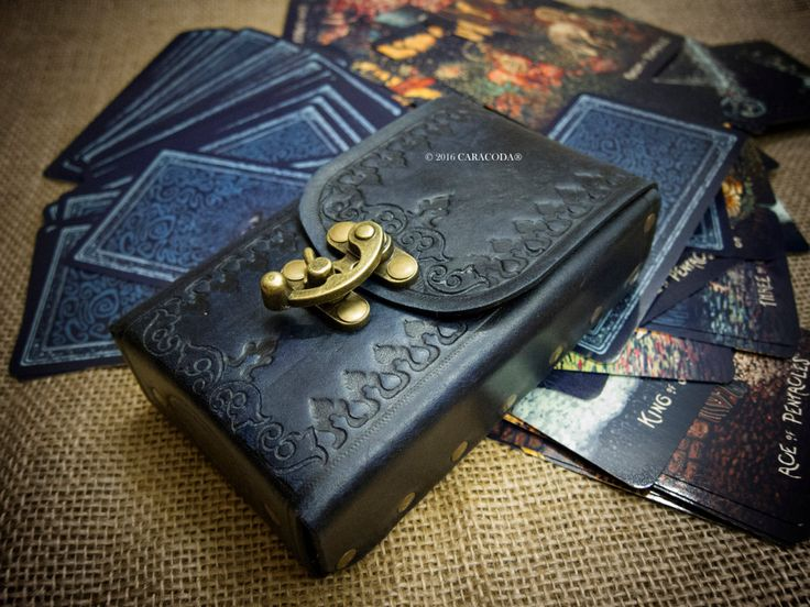 Tarot Leather Bag Case Pouch Cards Deck Veg Tanned Rider Waite Original Antique Look Distressed By Tarotl