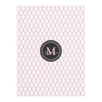 Monogram | White Pale Pink Trellis Pattern Fleece Blanket - pattern sample design template diy cyo customize