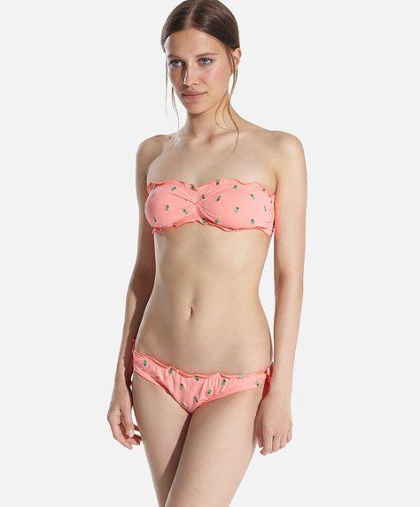 Bandeau bikini top with embroidered pineapples