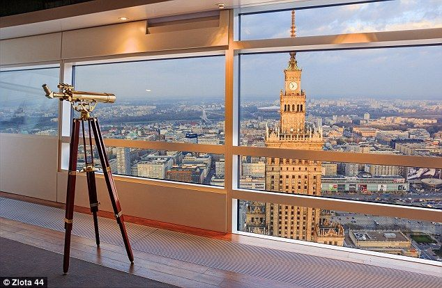 There are spectacular views across Poland's Warsaw where the tower is located....