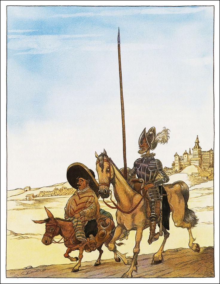 ❤Sancho Panza Personaggio del Don Chisciotte (1605 e 1615) di M. Cervantes, scudiero del protagonista. Espressione del concreto e di un'intelligenza primitiva, S.P. rappresenta il senso comune popolare, empirico ed elementare. Ma l'idealismo del suo cavaliere lo innalza in un'atmosfera di cristiana moralità che infine dissolve le intenzioni del suo utilitarismo.