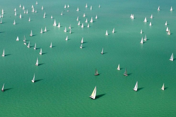 Competitors sailed after the start of the three-day Blue Ribbon yachting race around Lake Balaton in Hungary on Thursday.
