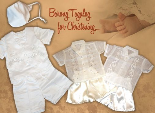 Christening Collection Barong Tagalog, Suits, and Gowns. Any christening outfit you choose from our selection is bound to make you even more proud of your baby on this holy day. http://www.barongsrus.com/barong/christening-c-27.html #BarongsRUs #barong #christening