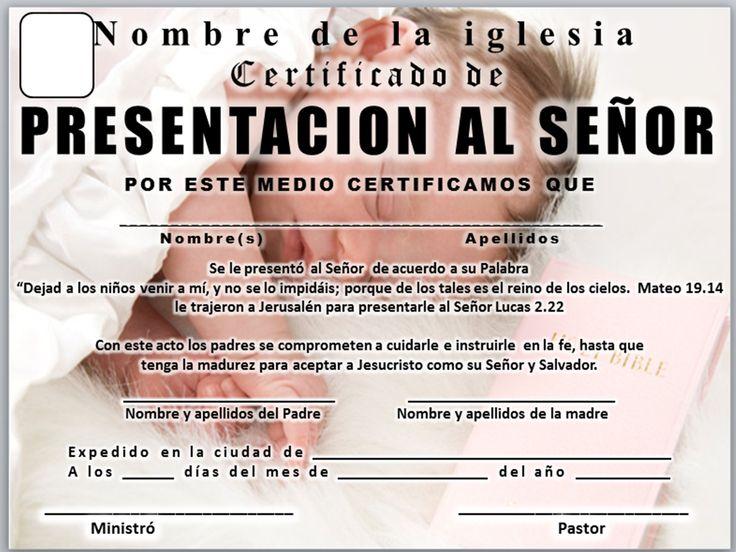 Resultado de imagen para certificado presentacion de niños