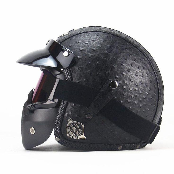Vintage Harley Helmets, Motorcycle Chopper Bike Helmet open face with Goggle Mask