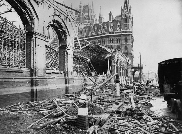 An area near St Pancras Station in London showing the damage caused by a German air raid during the London blitz in World War II in Septembe...